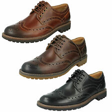 MENS CLARKS LACE UP LEATHER CASUAL FORMAL SMART BROGUE SHOES MONTACUTE WING