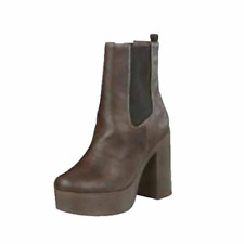 Dark brown Faux leather cleated sole block heel ankle boots