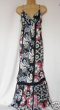 NEXT BNWT ladies ecru navy red floral print maxi lightweight summer sun Dress