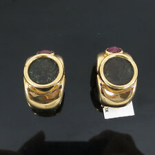 Vintage Greek Costantinus Ancient Coin 1.0ct Ruby 18K Yellow Gold Clip Earrings