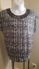 NEW Lane Bryant Plus Black and White  Embellished Neckline Knit Top Blouse