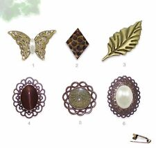 29mm - 53mm Antique Brass Lapel Pin Brooch - Leaf Butterfly Round or Oval Shapes