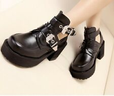 Women Punk  Ankle Boots Chunky Cut Heel High Platform Buckle Strap Gothic Shoes