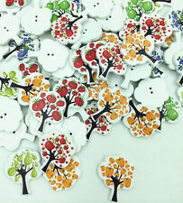 2 Hole Mixed Color Fruit tree Painting Wood Buttons sewing Decorative 30mm