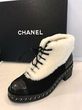 CHANEL Tweed Quilted Leather Alligator Toe Nutria Fur Lace Up Chain Boots $2100
