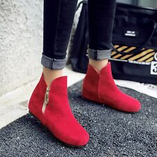 US Size 5-15 Fashion Womens Synthetic Suede Solid Ankle Zip Wedges Boots Shoes