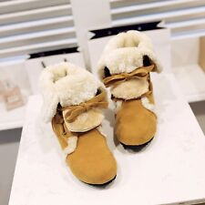 US Size 5-15 Snow Winter Womens Synthetic Suede Low Heels Wedges Boots Shoes