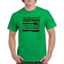 T Shirt Secondhand Vegetarian S Funny Vegan Healthy Gift Cow Grass New Humor Eat