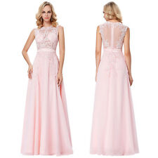 Pink Sleeveless Sheer Lace Chiffon Long Evening Party Bridesmaid Prom Gown Dress