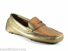 Cole Haan Trillby Driver Champagne Gold Metallic Leather Loafer D43342 Size 5.5