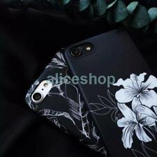 Trendy Black Ink Printing Flower Ssmooth Soft Case Cover for iPhone 7 7 Plus 6S