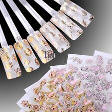 24 SHEETS 3D Nail Art Pink Flower Stickers Design Manicure Tips Decal LEBB
