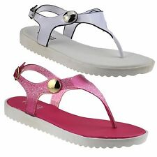 Ladies Womens Low Wedge Heel Toe Post Summer Beach Slingback Sandals Shoes Size