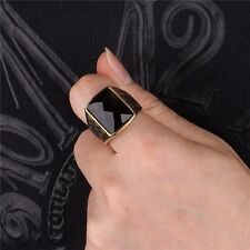 Eastern Square Onyx Black 925 Sterling Silver Handmade GP Size 9 10 11 Mens Ring