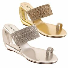 Ladies Diamante Sparkly Wedge Cut Out High Heel Dressy Evening Party Sandal Size