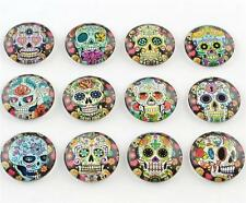 10 x 25mm ROUND CANDY SKULL PRINTED CLEAR GLASS DOMED CABOCHONS