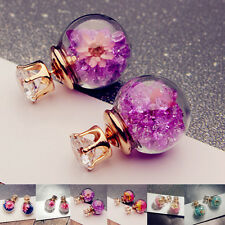 Women's Glass Earring Piercing Jewelry Dried Flower Rhinstone Ear Stud