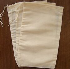 "Reusable Natural Cotton Muslin Drawstring Bags (6"" x 10"")"