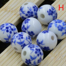 50pcs Flower Pattern Ceramic Porcelain Loose Spacer Beads Charms Round DIY Cute