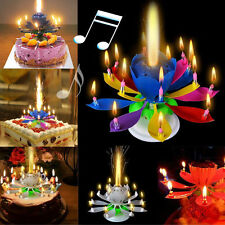 New Lotus Flower Decoration Cake Topper Birthday Candle Blossom Musical Rotating