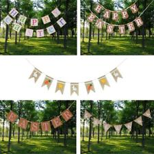 Rusitc Bunting Banner Happy Easter Carrot Bunny Hanging Garland Party Decora