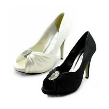 Ladies Silk Peep toe court shoes with diamante brooch