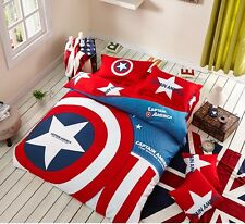 *** Captain American Single Bed Quilt Cover Set - Flat or Fitted Sheet ***