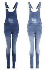 New Womens Pouch Pocket Buttoned Blue Denim Jeans Playsuit Dungaree Trousers