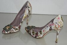 $965 NEW MANOLO BLAHNIK HANGISI 105 BUTTERFLY FABRIC JEWELED PUMPS SHOES 42