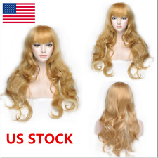 US Women Heat Resistant Hair 25.5'' Blonde Middle Long Curly Full Wig / Wig Cap