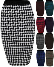 New Women Dogtooth Check Back Slit Pencil Skirt Ladies Stretch Trouser Plus Size