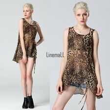 2015 Women Asymmetric Leopard Chiffon Sleeveless Vest Tops Blouse Long Shirt LM