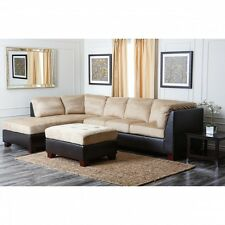 Sectional Sofa And Ottoman Black Brown Couch Chaise Modern Living Room Furniture