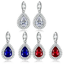 HUCHE 18k White Gold Filled Drop Pear Diamond Sapphire Ruby Women Studs Earrings