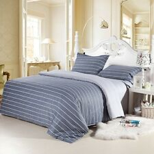 Striped Duvet Quilt Doona Cover Set Queen/King Size Fitted Sheet Set 100%Cotton
