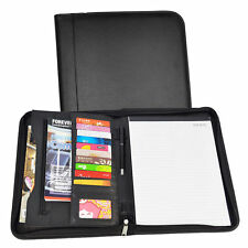 A4 Portfolio Case Zipped Conference Folder Business PU Leather Document  Black