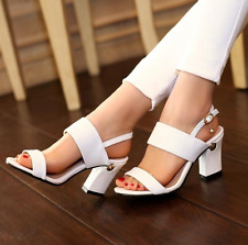 Europe Style Block Heels Cut Outs Buckle Sample Gladiators Womens Shoes Sandals