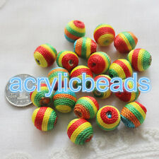 20x 14mm Rainbow Color Handmade Round Acrylic Woven Beads Covered Wool 3mm Hole