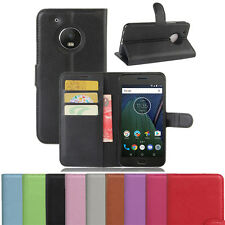 Wallet Holder Folio Leather Shell Pouch Case Cover For Motorola Moto G5