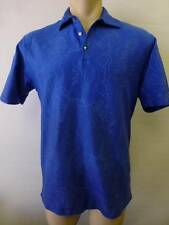 mens thick TIGER WOODS NIKE blue polo golf short sleeve polo shirt Medium clean