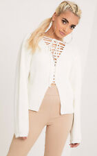 Prettylittlething Womens Ladies Cora Cream Cropped Knit Tie Jumper