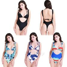 Womens One Piece Push Up Padded Bikini Swimsuit Swimwear Halter Monokini Printed