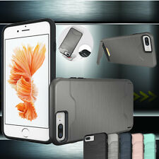 Hybrid Protective Brush Drawing Card Holder Stand Case Cover For Iphone 6 7 Plus