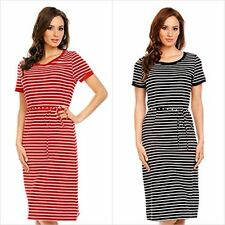 Womens Striped Short Sleeve Loose Midi Summer Cocktail Party Dress Size 8 - 16