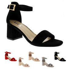 Ladies Sandal Cut Out Block Heel Open Toe Barely There Ankle Strap Heels