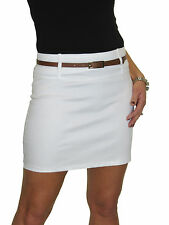 NEW Mini Skirt Stretch Sateen Bodycon With Belt White 8-18