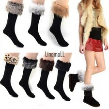 Faux fur Snow Socks Leg Warmer Stocking Fur Cover Cuff Boots Shoes Women LM