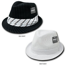 Classic Poly Woven Pinstripe Fedora Hat with Hat Bands