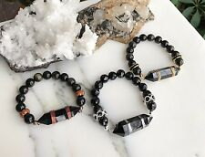 Black Obsidian Crystal Point Stretch Bracelet