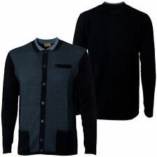 Gabicci Vintage Mens Navy Blue Knitted Buttoned Collared Cardigan Knitwear S-2XL